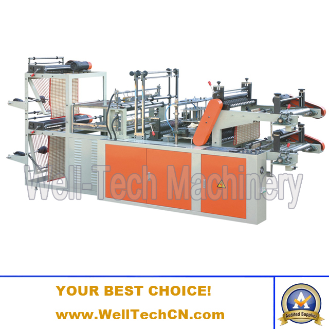 WTRB-A500-800 Computer Control High-speed Vest & Flat Opening Rolling Bag-making Machine (Double layer)